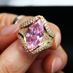 반지 분홍색 지르콘 금관 악기 형식 보석 반지