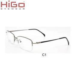 Montatura per occhiali di titanio pura dell'orlo mezzo esecutivo di fabbricazione di Higo con i vetri ottici di punta di metallo