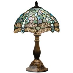 Style de libellule mer TFT-4253 vitrail Tiffany Table Bleu Lampe de bureau