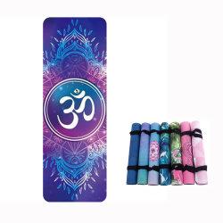 Mandala Om Premium réversible microfibre 100% Tapis de Yoga de caoutchouc naturel