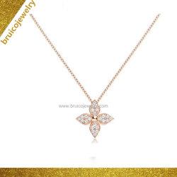Goldschmucksachen Großhandelsder form-Blumen-geformte Schmucksache-hängende Halsketten-18K mit Diamanten für Damen