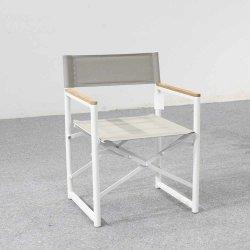 Camping de aluminio silla con reposabrazos de madera silla plegable de playa al aire libre