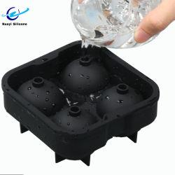 precio de fábrica en forma de esfera de silicona redondo grande bandejas de cubitos de hielo