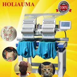 2 têtes Holiauma Dentelle métier à broder informatisé de chenille pour Flat, T-Shirt serviette 1200 tr/min avec 15 couleurs pour la vente