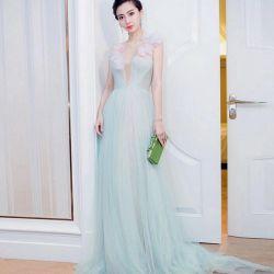 V-Neck beading chiffon Green Lady 드레스복 이브닝 드레스