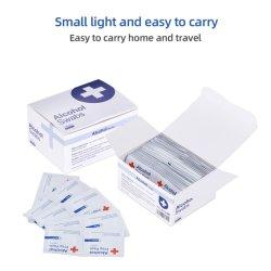Disposable, medium vierkante maat Alcohol Prep Pads 100 Pack Medical-Grade, steriel, individueel verpakt, isopropylwattenstaafjes