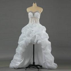 짧은 소매 v 목 레이스 결혼 예복 신부 드레스