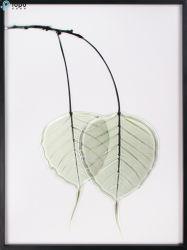 Personnalisé H400mm*300mm Nordic Green Leaf art encadrée de verre Peinture murale (MR-YB6-2057A)