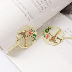 금속 책 레이블 관례 북마크가 주문을 받아서 만들어진 선물 고대 중국 작풍 다채로운 수다쟁이 꽃 과일 나무 둥근 스크린 모양 문화 여행에 의하여 밖으로 속을 비게 한다