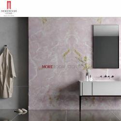 Casa de banho com chuveiro polido decorativos de parede rosa de quartzo rosa Pedra Natural Onyx porcelana mármore piso em parede lajes de lado a lado