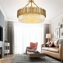 Modern American Euroueap Home decorazione di lusso cristallo acciaio inossidabile Ottone Lampadario a braccio con luci a sospensione in metallo di rame-ferro
