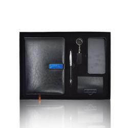 كمبيوتر دفتري للأعمال الترويجية ذو غطاء جلد PU مخصص للبيع بأسعار مغري مجموعة هدايا بطاقات Powerbank pen و10000 مللي أمبير/ساعة