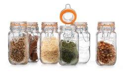優雅なホーム高品質の正方形の形の気密のガラススパイスの瓶のふたが付いている密閉シールの瓶