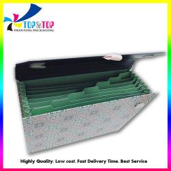Faltender Zeitschriften-Datei-Faltblatt-Halter-Handtaschen-geformter Belegdatei-Speicher-Papppapierkasten-Doppelt-Geschäfts-Datei-Kasten