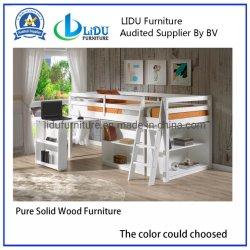 Populaires en bois de pin chambre des enfants un lit simple en bois solides avec la table bookcase Diapositive