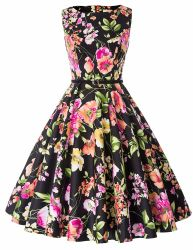 63 Schwarz Blumendruck Schöne Niedliche Mädchen Mode Party Kleid