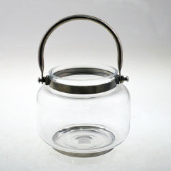 Dekoration Glass Lantern mit Metal Handle Glass Candle Holder