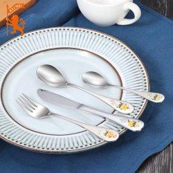 Cubertería de acero inoxidable/cubiertos para niños, incluyendo la horquilla de cuchara cuchillo y cuchara de té 4 PC