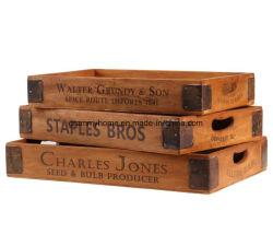 Empilhamento francesa vintage de 3 peças de madeira servindo bandeja definida elemento metálico Bike Accessoires Bandeja