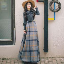 의류 공장 여자 겨울 가을 긴 격자 무늬 형식 치마