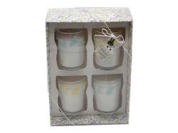 Festival de Esater 4 pk parfumés de verre bougies votives boîte avec l'impression de la soie en boite cadeau pour la décoration d'accueil