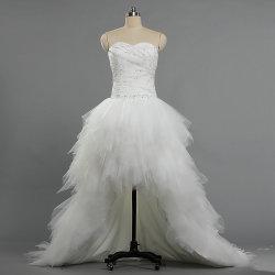 W361 2019 새로운 짧은 정면 긴 뒤 트레인 결혼 예복 구슬 Tulle 가운