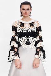 女性のかぎ針編みによる円形の首の低下の肩の綿の方法衣服