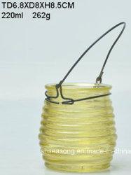 Bougeoir en verre avec poignée en métal / Bougie Jar (SS1303)