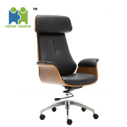 (JACKIE) en el interior de la Oficina de madera PU cojín de cuero negro moderno mobiliario sillas de oficina