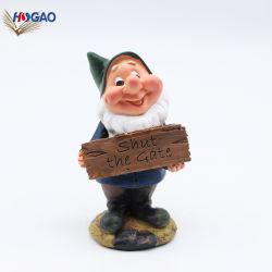 La Chine Taille personnalisée OEM Handmade Polyresin nain avec Carte de Bienvenue pour la vente