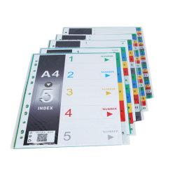 A4 Index en plastique coloré et diviseurs de l'onglet de fichier