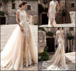 Champagne robes de mariée la dentelle de Mermaid 2 en 1 robes de mariée Train amovible Z3003