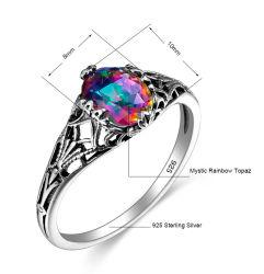 Hot Sale Rainbow Stone 925 Sterling Silvelr bague Bijoux