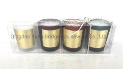 Candele sentite miele con la miscela della decorazione del contrassegno dell'oro in candele di vetro/insieme di PCS della casella 4 dell'animale domestico per il regalo