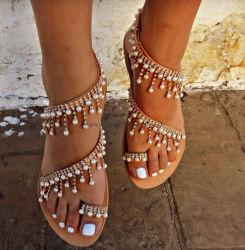 رومانيّة لؤلؤة خفاف حجم كبيرة [هندمد] ينظم إمرأة أحذية