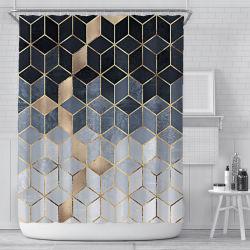 Nordic Cube Casa de banho geométrica simples Cortina impressão digital personalizada Dacron Cortina de Duche à prova de água