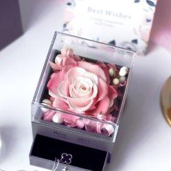 Anniversaire de mariage cadeaux préservé fleur rose fleur artificielle