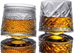 كوب كريستال ويسكي الزجاجي القابل للدوران بسعة 9 أونصات، كوب روكي من الزجاج العتيق، كوب روكس بار، كوب روكي لتناول شراب البوربون، سكوتش، كوكتيلات، كونياك