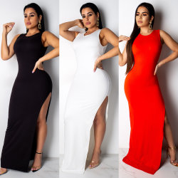 Superstarer más populares Backless Evening High Split vestir noche Sexy Maxi Long Moda Vestidos 2021 mujeres sexy