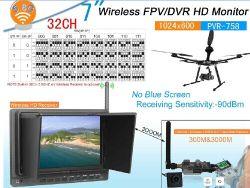 32-Kanal 5,8GHz Wireless Receiver mit 7-Zoll-Monitor, DVR