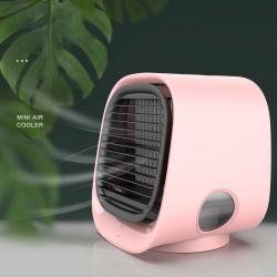 2000mAh LED coloridas pessoais de luz portátil Ar Condicionado Desktop do ventilador água USB mini-refrigerador de ar com Umidificador (FAN-21)