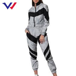 La mujer Tracksuits 2 Piezas cosecha reflectantes pantalones superior de la moda 2020 Señoras suelto chaqueta con cremallera untar traje de pantalón