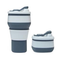 Logotipo personalizado OEM portátil Ecológico de viaje plegable taza de café, de silicona plegable Taza de Café Taza con tapa