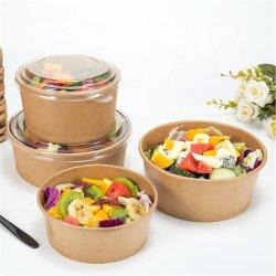 La impresión personalizada desechable caja de embalaje de alimentos Ensaladeras Contenedor de papel Kraft recipiente con tapa para ir Box Lunch Box Caja de comida para llevar