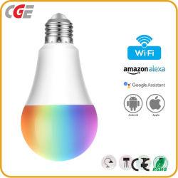 Drahtlose intelligente LED WiFi Birne Steuer-RGB-A60 7W mit E27 E26 B22 Unterseite