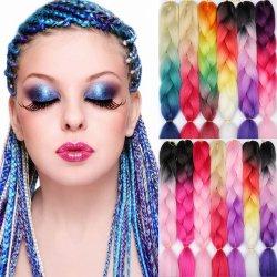 Kbeth جميع الألوان في المخزون 100 غ 24 بوصة أومبر أفريقيا الشعر امتداد الشعر الجامبو الشجاع الصناعي الجيد الجودة للمرأة البيضاء في المخزن