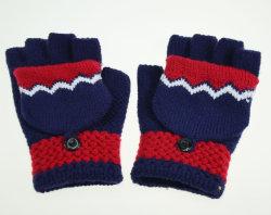 Handschoenen van de Jacquard van Fingerless van de Kleur van het Contrast van de Marine BSCI de Rode Acryl Gebreide