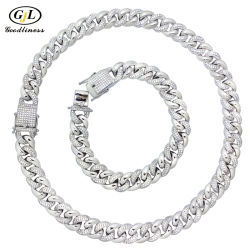 925 Zilver Custom Diamond Jewelry Armband ketting kubieke Zirconia Cuba Chain Fashion Jewelry