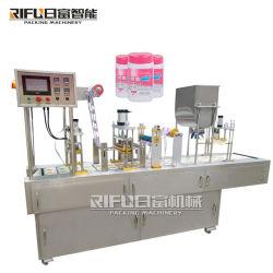 Förderndes automatisches sauberes nasses Gewebe/Wischer/Haar-Kanister/Flasche/Wanne/Zylinder/Contanier/Cup-füllende Dichtungs-Verpackungs-Verpacken-Maschinerie