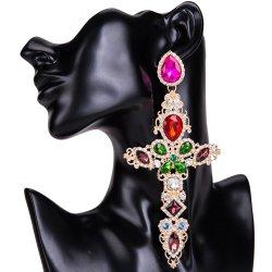 Grande croix boucles pour les femmes grande déclaration Earrings Crystal Dangle Earrings Bijoux Tendances Rhinestone 2020